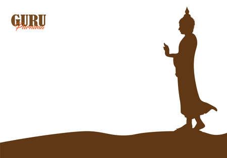 Vector Illustration of Guru Purnima Celebration in India and Nepal. Vesak day. Vettoriali