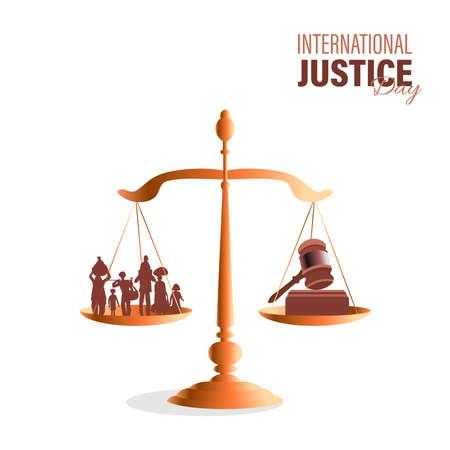 vector illustration for international Justice day observed on July 17. poster, card, or banner design.