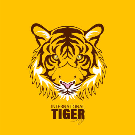 Vector Illustration of International Tiger Day 29th July, an annual celebration to raise awareness for tiger conservation.