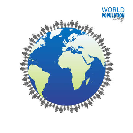 Vector Illustration of World Population Day 11 July, which seeks to raise awareness of global population issues, Poster or banner. Stock Illustratie