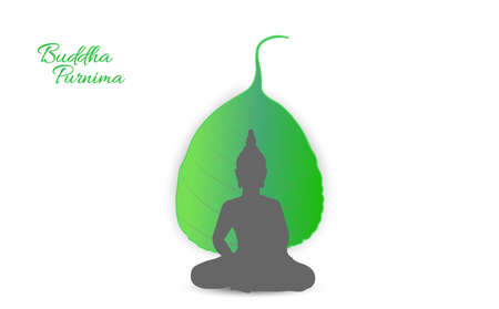 Sacred fig or Pipal tree leaf Buddha Purnima or Vesak day vector illustration, allso called Guru Purnima in India and Nepal Vettoriali