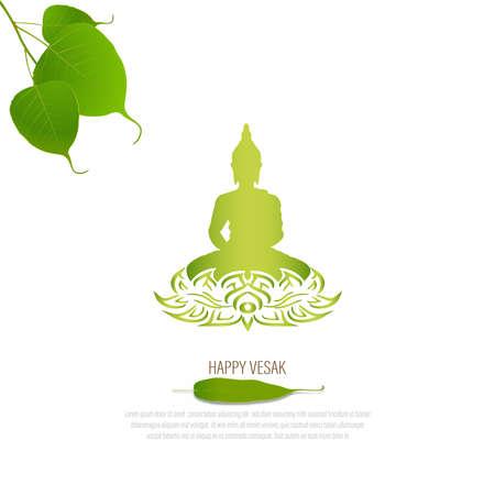 Sacred fig or Pipal tree leaf Buddha Purnima or Vesak day vector illustration, allso called Guru Purnima in India and Nepal Illustration