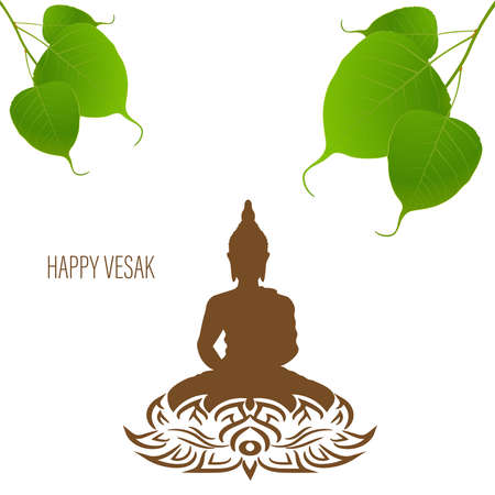 Sacred fig or Pipal tree leaf Buddha Purnima or Vesak day vector illustration, allso called Guru Purnima in India and Nepal 向量圖像