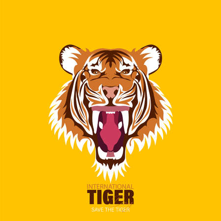 Vector Illustration of International Tiger Day 29th July, an annual celebration to raise awareness for tiger conservation. Perfect for logo, emblem, wallpaper or card