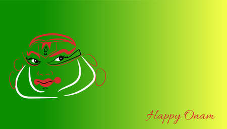 Happy Onam a very famous south indian festival of India. Kathakali Abstract Face Design or makeup hand drown minimum lines