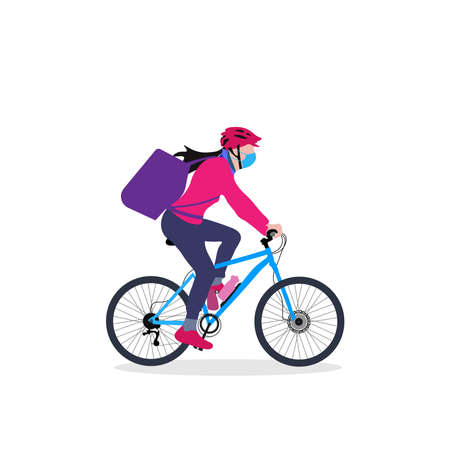 A delivery girl on cycle with backpack driving through an urban area vector illustration Vecteurs