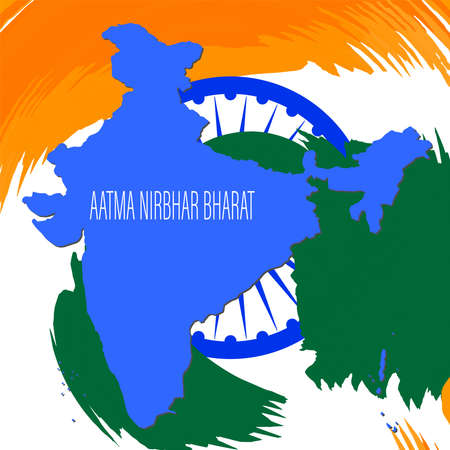 Aatma Nirbhar Bharat means Self reliant India showing Indian flag during coronavirus pandemic time.