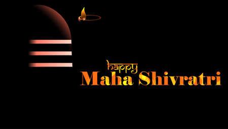 Vector illustration of Greeting card for maha Shivratri, Greeting card for Hindu festival Maha Shivratri. Grunge texture Mahadev Tilak sign.