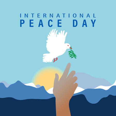 World Peace Day greeting card illustration, International social help concept. Paper origami dove of peace with olive branch. EPS10 vector.