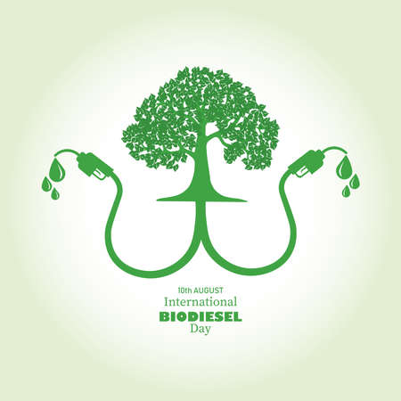 Vector Illustration of International Biodiesel Day which is observed on 10th of August. Abstract representation of a tree with Bio fuel and world map on background