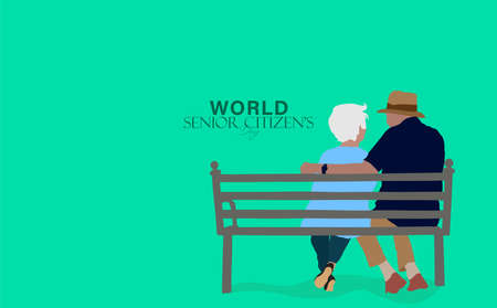 Vector Illustration of World Senior Citizen's Day which is observed on 21st august. Elderly People walking, sitting and laughing having fun.
