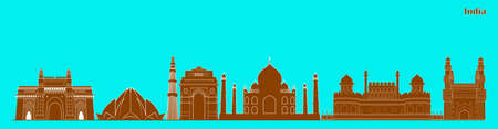 Illustration of famous Indian monument cityscape for Independence Republic Tourism or Marketing purpose