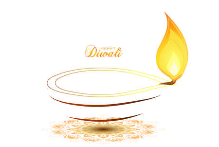 Vector illustration of Diwali festival Diya Lamp with rangoli at the bottom. Happy Diwali.