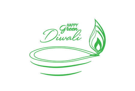 Vector illustration of Diwali festival Diya Lamp. Green Diwali abstract design. Ilustração