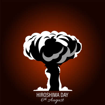 Nuclear explosion vector illustration isolated on white background. International day against nuclear tests. Hiroshima remembrance day minimal style concept.