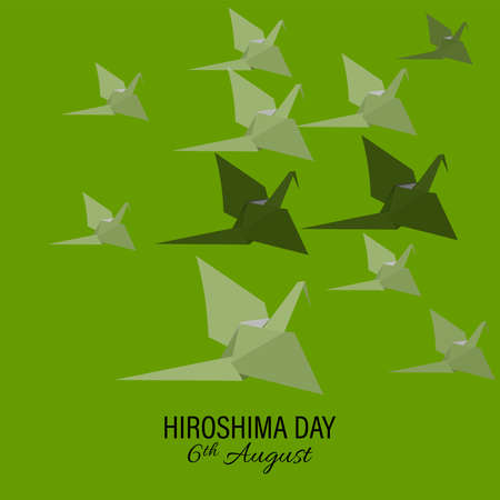 Vector illustration bird paper crane, bird paper craft for Hiroshima remembrance day minimal style concept. abstract. Ilustração
