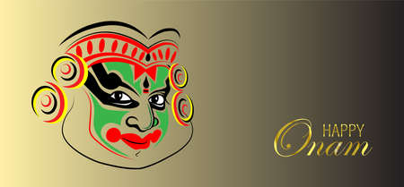 Happy Onam. Vallam Kali a boat race illustration in minimal design. Kathakali Abstract Face Design or makeup hand drawn