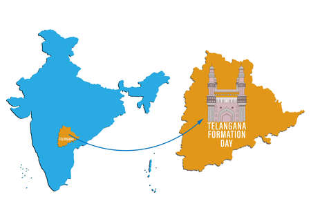 Vector Illustration of Telangana Formation day June 2nd with map on Indian map showing charminar Vetores