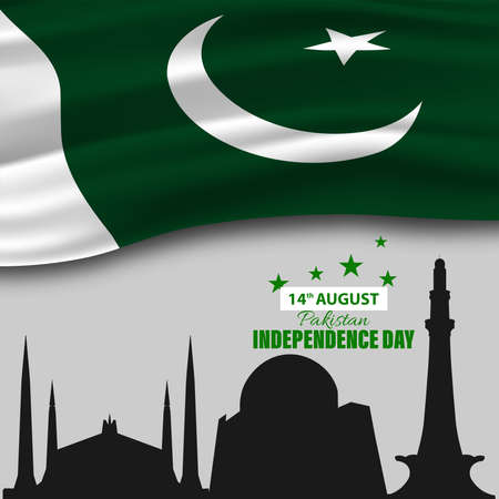 Vector Illustration of Pakistan Independence Day 14th August. Waving fabric of Pakistan Flag, Minimalistic design.