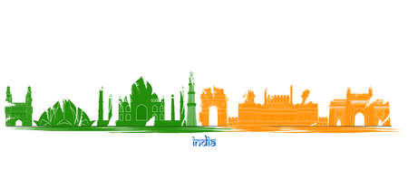 Illustration of famous Indian monument cityscape for Independence Republic Tourism or Marketing purpose Vetores