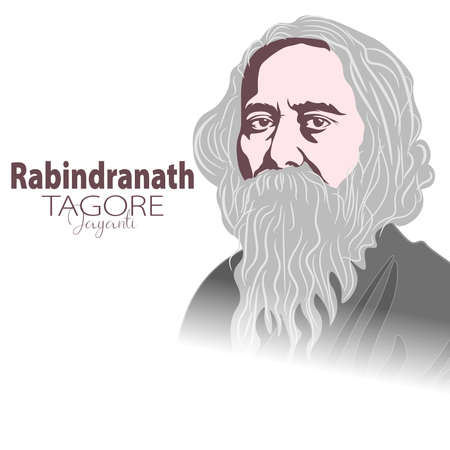 Vector Illustration of Rabindranath Tagore a poet and socialist from Bengal
