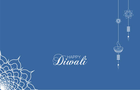Happy Diwali festival. Diwali holiday Background with rangoli, Diwali celebration greeting card. Vector illustration of realistic illuminated oil lamps and floral mandala.