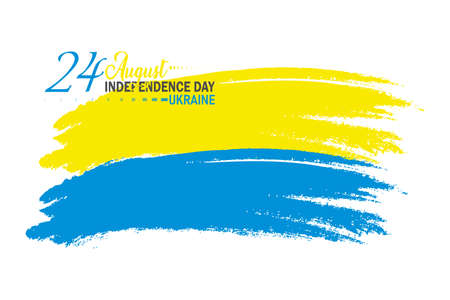 Vector Illustration of Ukrainian Independence Day. 24th August. Brush stroke waving flag