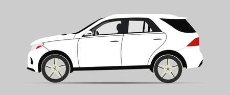 Vector illustration of car model. Template for car branding and advertising. Side View.