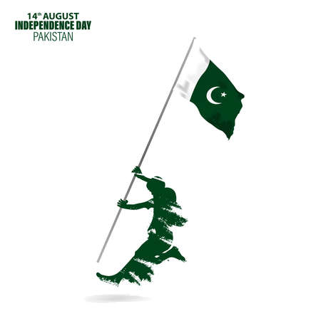 Vector Illustration for 14th August Independence day of Pakistan. Rejoicing boy jumping with Pakistan flag in hand. Ilustração