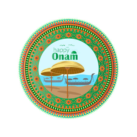 Happy Onam a very famous south indian festival of India. Kathakali face vector design a classical dance of Kerala India