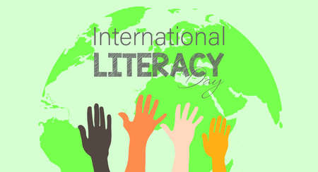 Vector Illustration of International literacy day. 8 September. board, pencil, letters, diary etc.