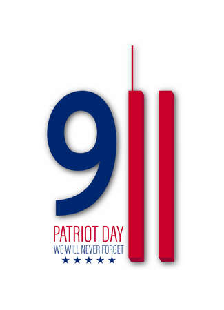 Vector illustration of Patriot Day 911 anniversary. USA Patriot Day banner. We will never forget.