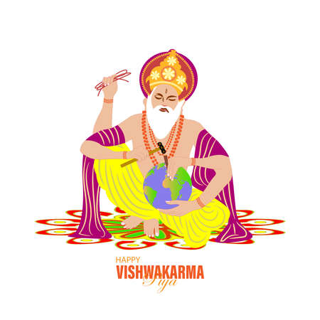 Vishwakarma God of Hindus, who is believed to be the architect of the universe. A banner for Vishwakarma Puja. Vector Illustration.