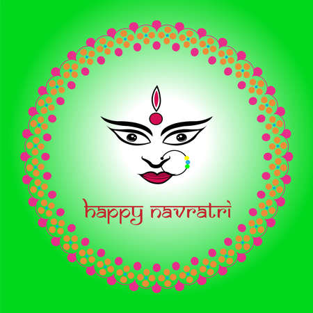 Navratri is a nine day festival for Goddess Durga. Durga Puja celebration poster. Graba dance and dandiya night abstract. Ilustração