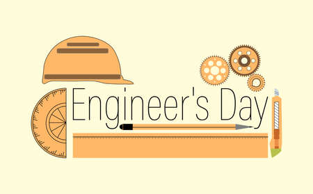 Vector Illustration of Engineer's day India. 16th September. Background with construction instruments.