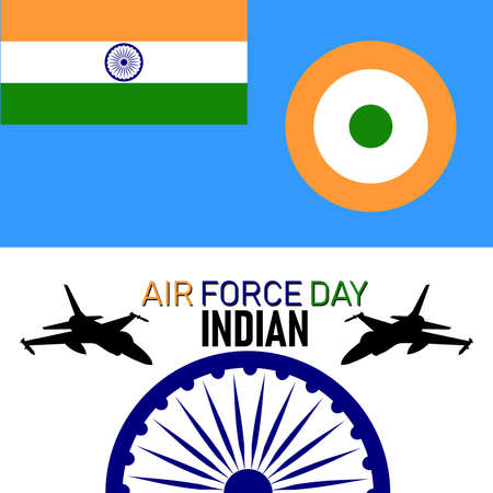 Vector Illustration of Indian Air Force Day observed on October 8. Banner with fighter plane.