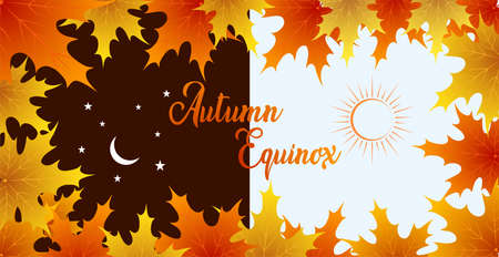 Autumn equinox vector illustration. September 22. Concept design with maple leafs in darker and lighter color. Crescent with stars and sun.
