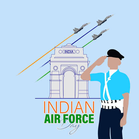 Vector Illustration of Indian Air Force Day observed on October 8. Banner with fighter plane