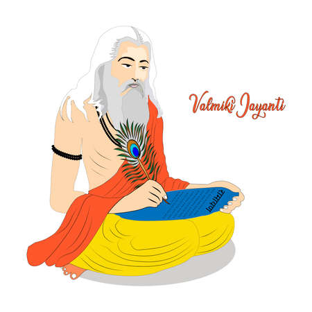 Ramanya text written in hindi which means Epic book of ramayana. Vector Illustration of Valmiki Jayanti, A mythological peot of Ramayana. Banner or Poster.