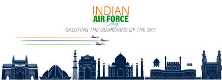 Vector Illustration of Indian Air Force Day observed on October 8. Banner with fighter plane and air pilot walking away from it.