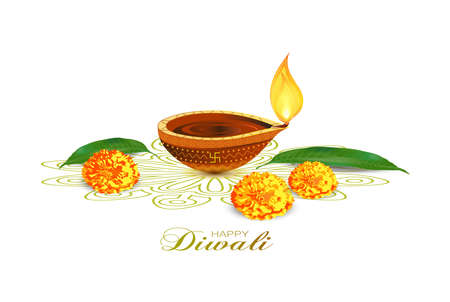 Dipawali is written in Hindi which means the festival of lights. Vector illustration of Diwali festival Diya Lamp. Indian cityscape in background.