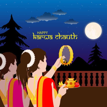 Vector Illustration for Karwa Chauth, an Indian festival, the day where wives fast throughout the day and break their fast after the moon rise. Woman with candle, back view. Illustration