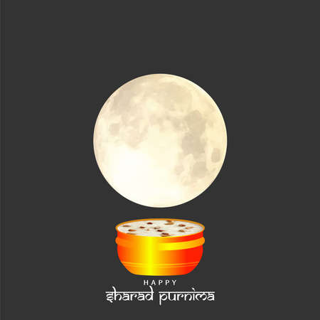 Vector Illustration of Sharad Purnima which is a harvest festival celebrated on the full moon day. Full Moon in the night. Illustration