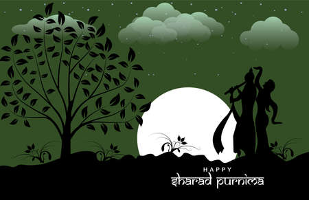 Vector Illustration of Sharad Purnima which is a harvest festival celebrated on the full moon day. Full moon in night.