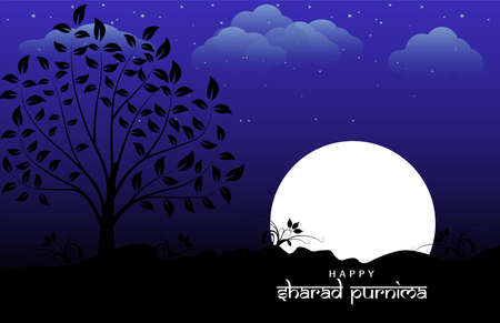 Vector Illustration of Sharad Purnima which is a harvest festival celebrated on the full moon day. Full moon in night. Illustration