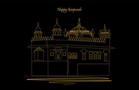 Vector illustration of guru nanak prakash parv. Happy Gurpurab. Golden and white colored temple on dark color background Vektorové ilustrace