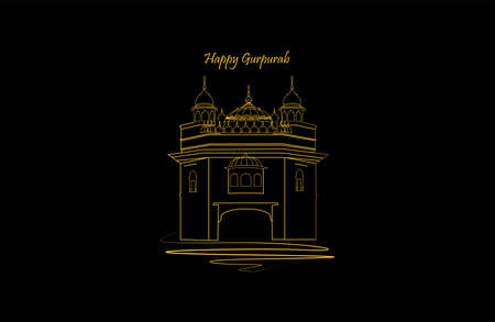 Vector illustration of guru nanak prakash parv. Happy Gurpurab. Golden and white colored temple on dark color background