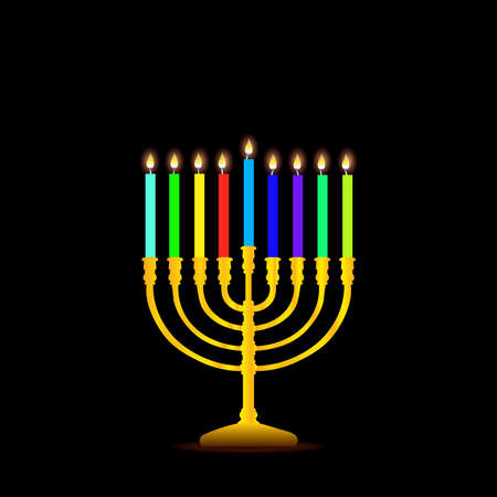 Happy Hanukkah, Jewish Festival of Lights scene with people, happy families with children. Background with menorah (traditional candelabra) and candles Vektorgrafik