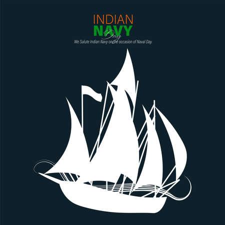Vector Illustration of Indian Navy Day. December 4. Soldier Saluting Flag.