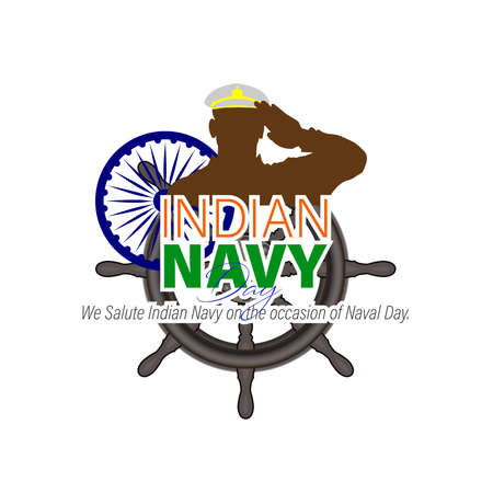 Vector Illustration of Indian Navy Day. December 4. Soldier Saluting Flag. Ilustrace